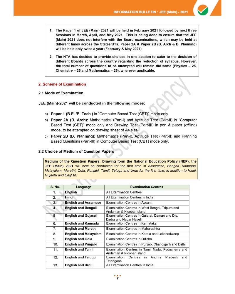 JEE Main 2021 Information Brochure 9