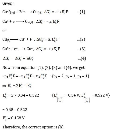 KVPY SX 2016 Chemistry Question 26 Solution