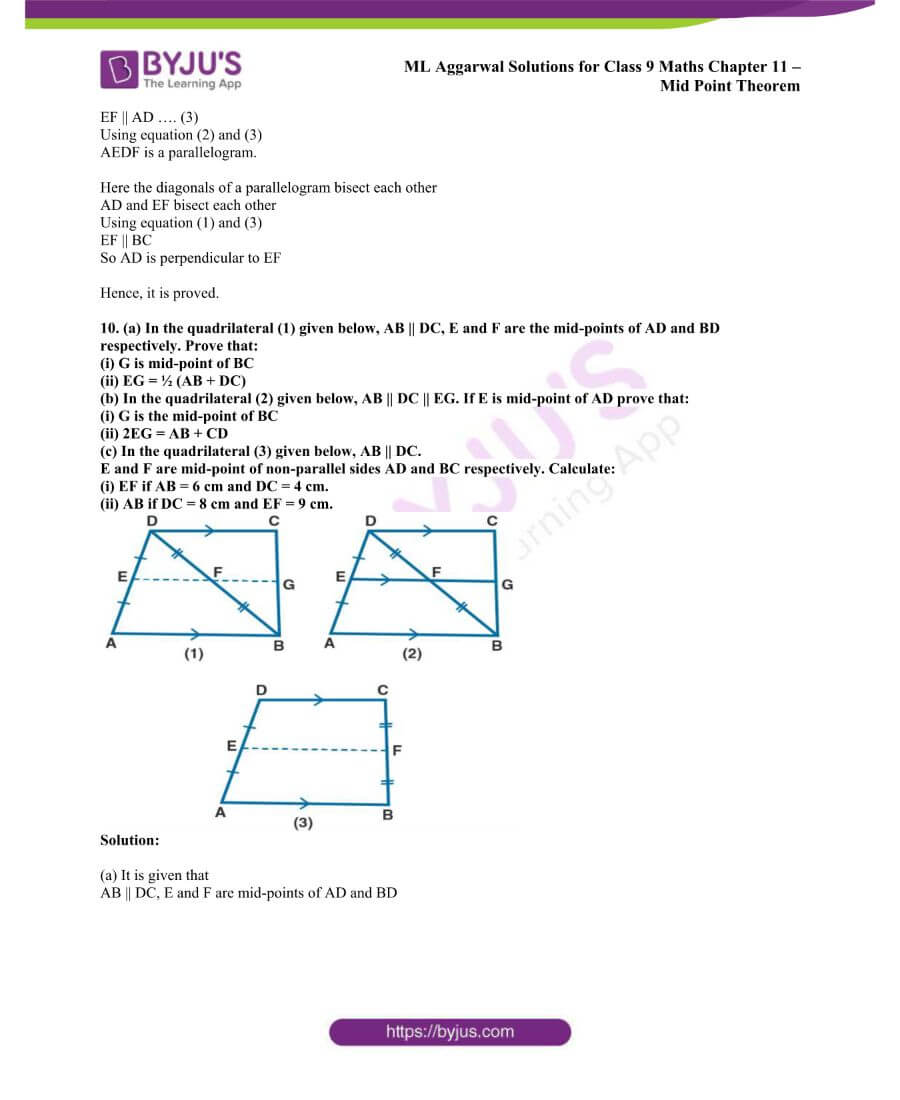 ML Aggarwal Solutions for Class 9 Maths Chapter 11 Mid Point Theorem 10