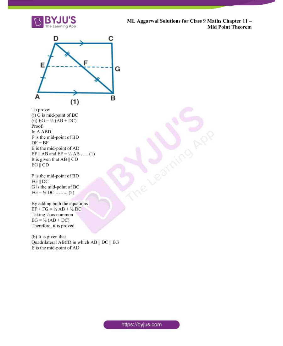 ML Aggarwal Solutions for Class 9 Maths Chapter 11 Mid Point Theorem 11