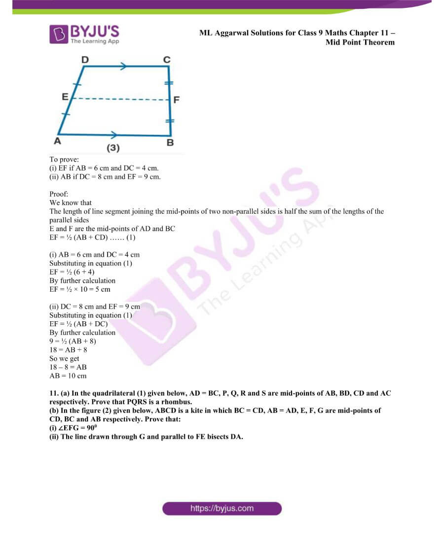 ML Aggarwal Solutions for Class 9 Maths Chapter 11 Mid Point Theorem 13