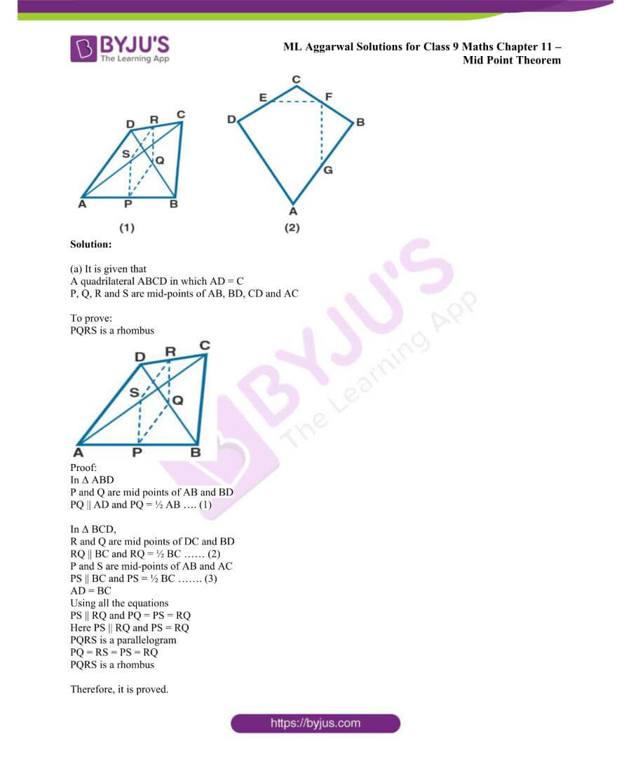 ML Aggarwal Solutions for Class 9 Maths Chapter 11 Mid Point Theorem 14
