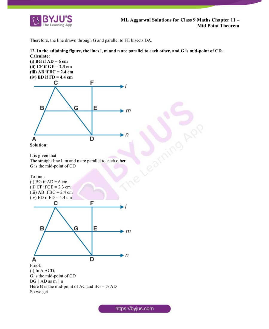ML Aggarwal Solutions for Class 9 Maths Chapter 11 Mid Point Theorem 16