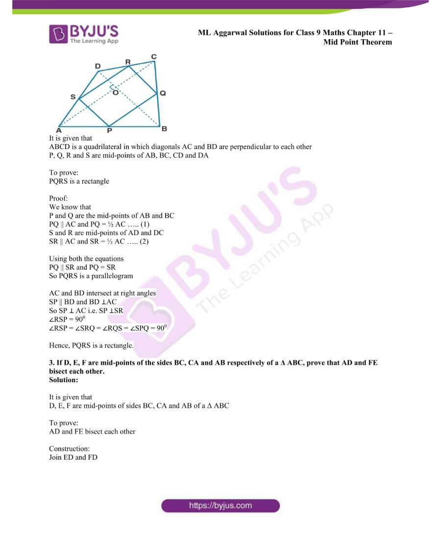 ML Aggarwal Solutions for Class 9 Maths Chapter 11 Mid Point Theorem 19