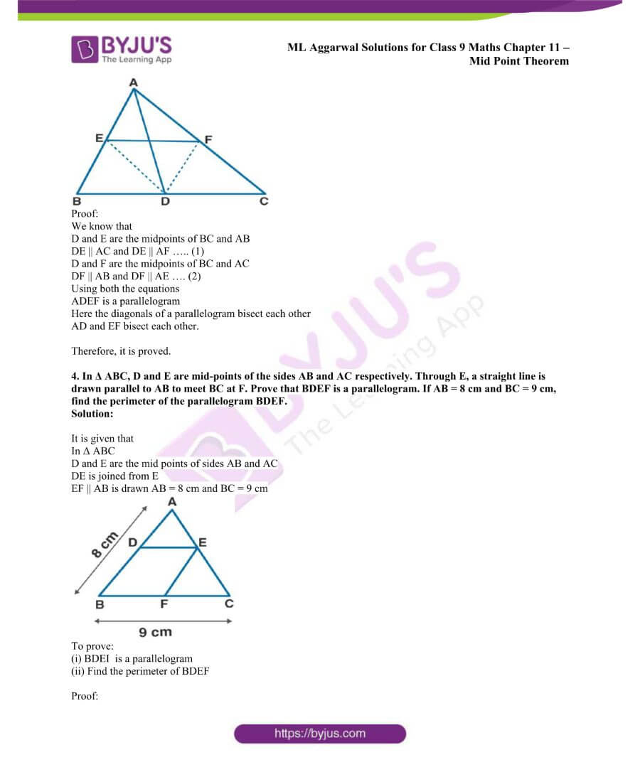 ML Aggarwal Solutions for Class 9 Maths Chapter 11 Mid Point Theorem 20