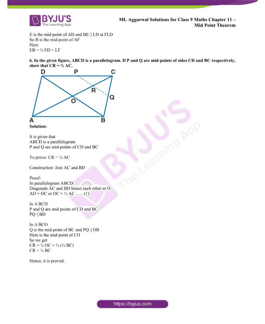 ML Aggarwal Solutions for Class 9 Maths Chapter 11 Mid Point Theorem 22