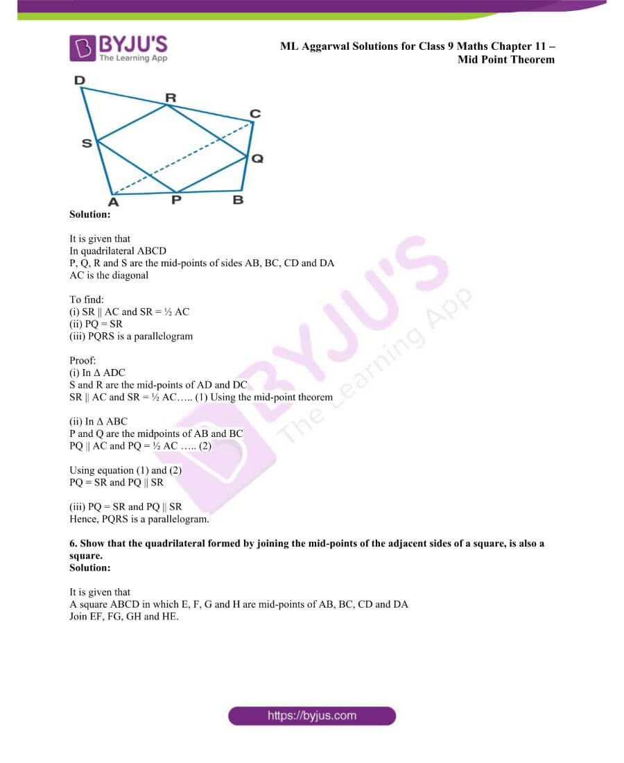 ML Aggarwal Solutions for Class 9 Maths Chapter 11 Mid Point Theorem 5