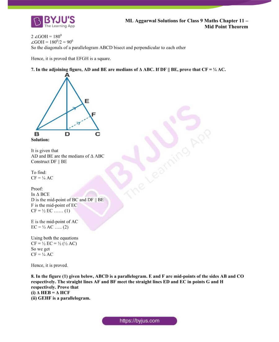 ML Aggarwal Solutions for Class 9 Maths Chapter 11 Mid Point Theorem 7