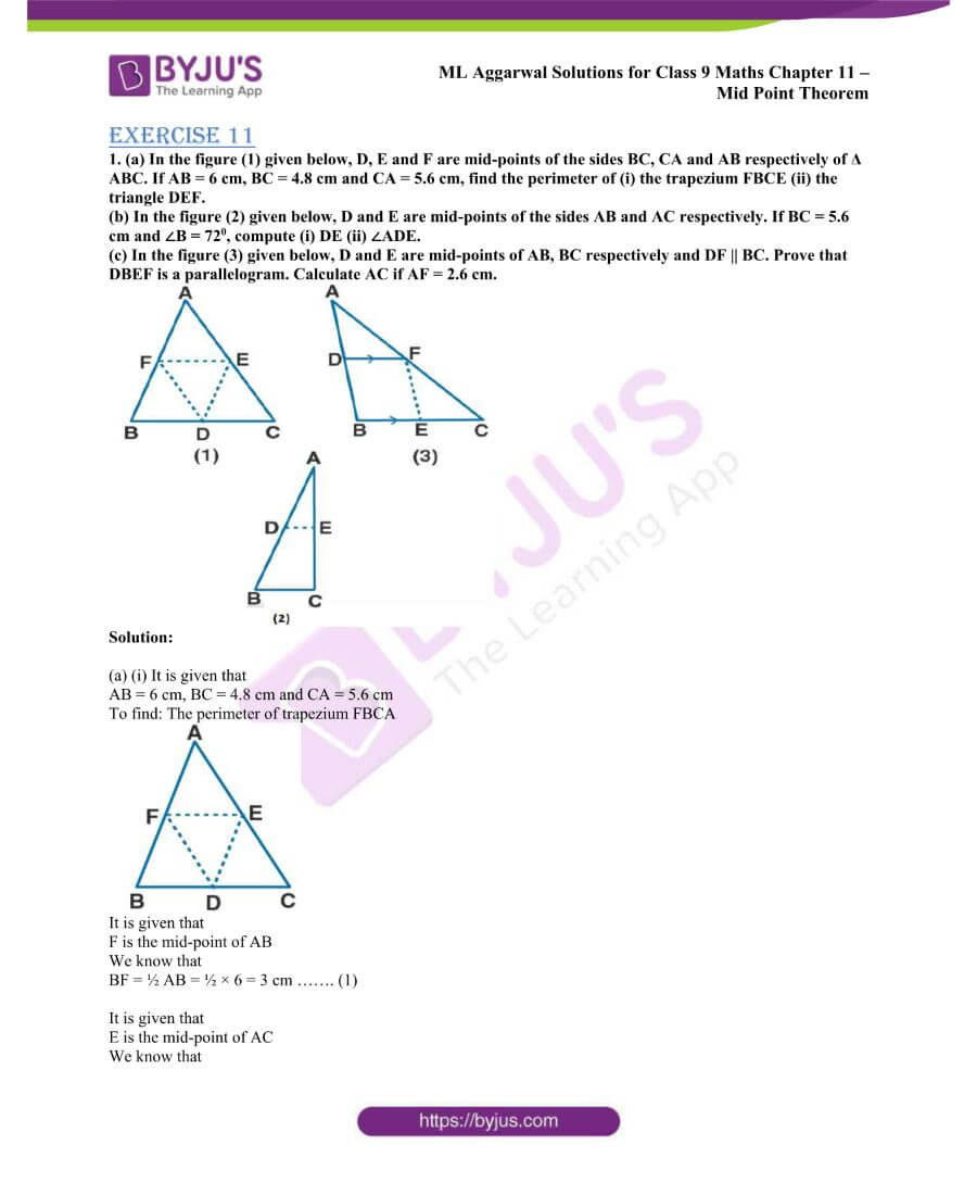 ML Aggarwal Solutions for Class 9 Maths Chapter 11 Mid Point Theorem