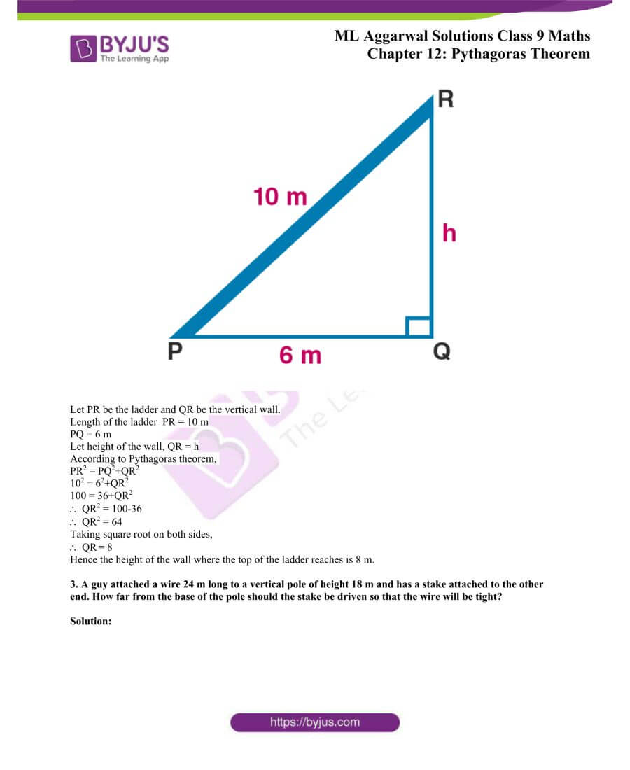 ML Aggarwal Solutions for Class 9 Maths Chapter 12 Pythagoras Theorem 1