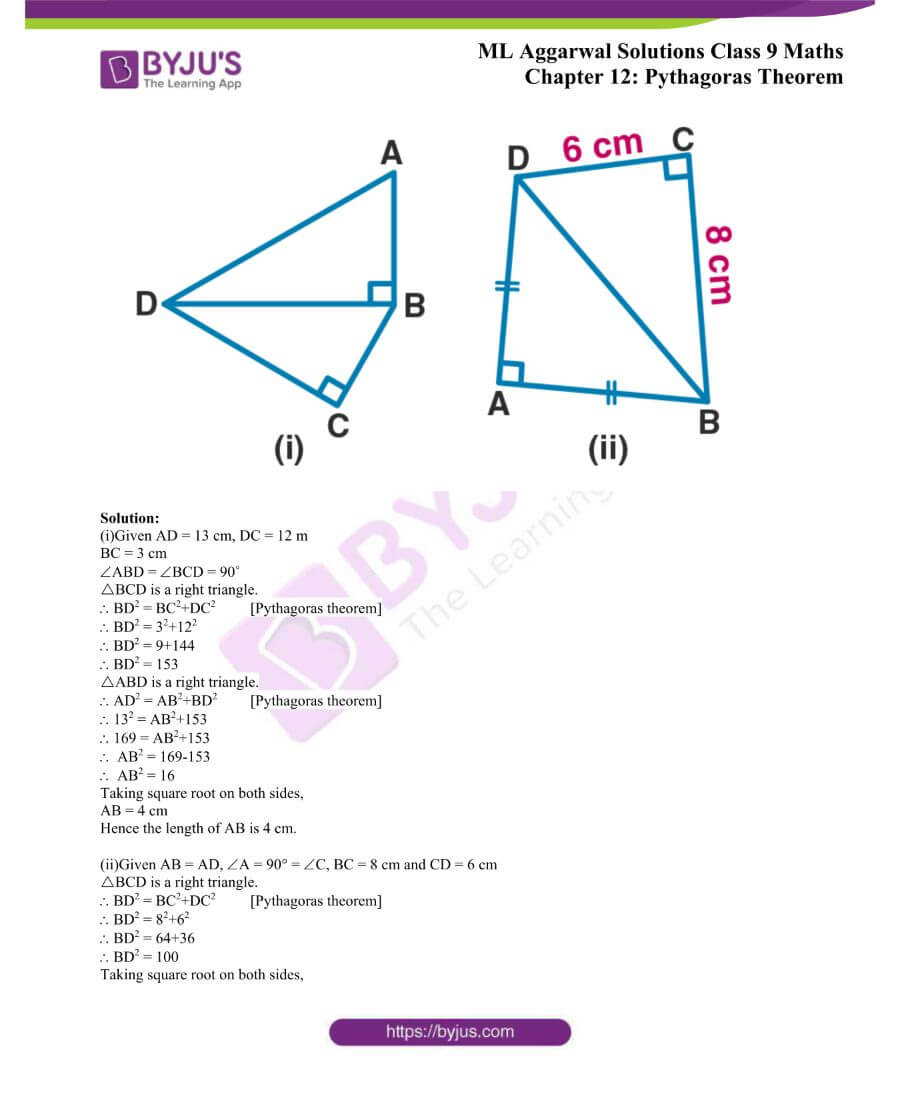 ML Aggarwal Solutions for Class 9 Maths Chapter 12 Pythagoras Theorem 12