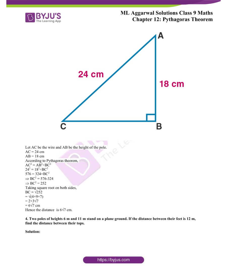 ML Aggarwal Solutions for Class 9 Maths Chapter 12 Pythagoras Theorem 2