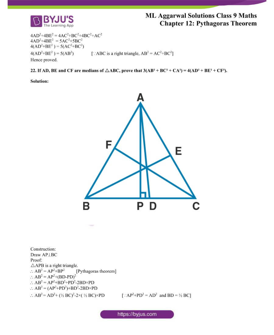 ML Aggarwal Solutions for Class 9 Maths Chapter 12 Pythagoras Theorem 24
