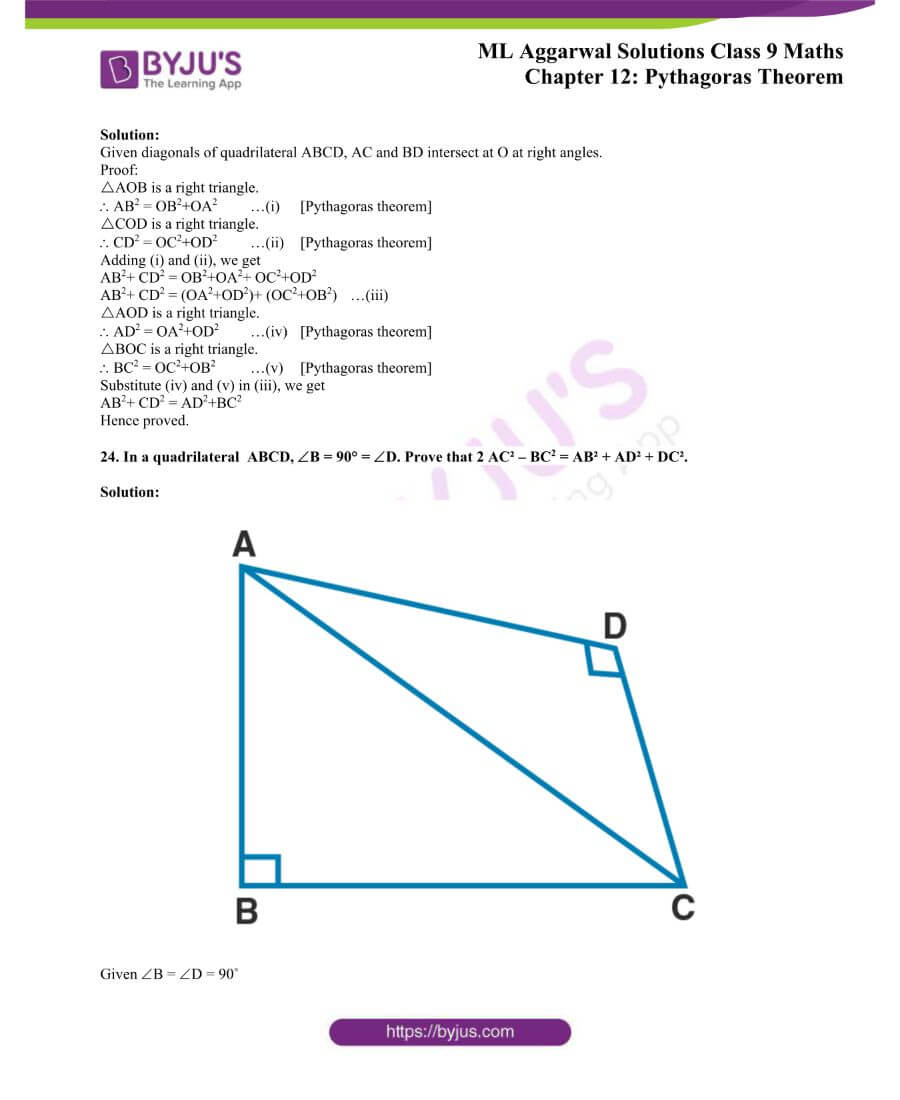 ML Aggarwal Solutions for Class 9 Maths Chapter 12 Pythagoras Theorem 26