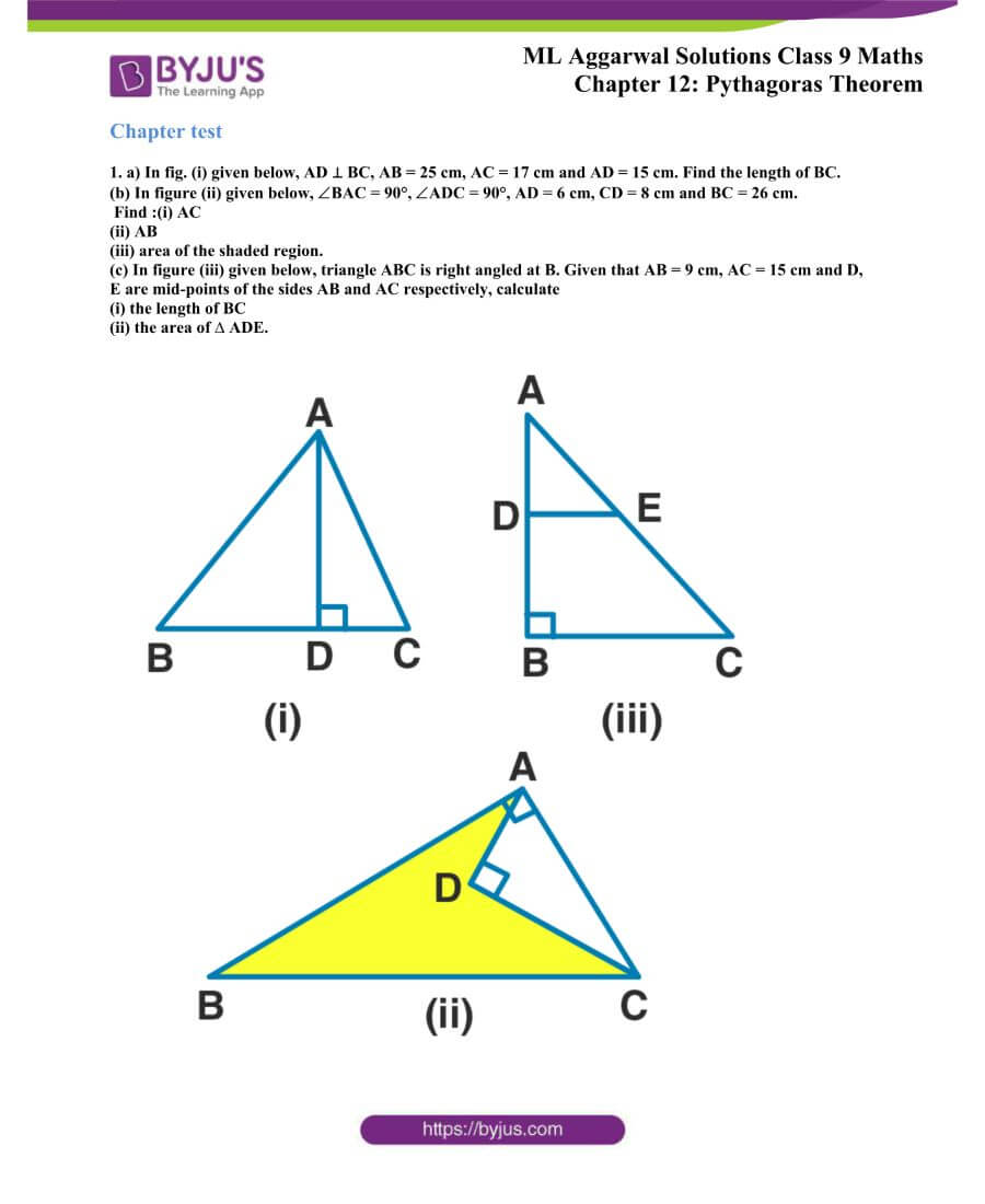 ML Aggarwal Solutions for Class 9 Maths Chapter 12 Pythagoras Theorem 29