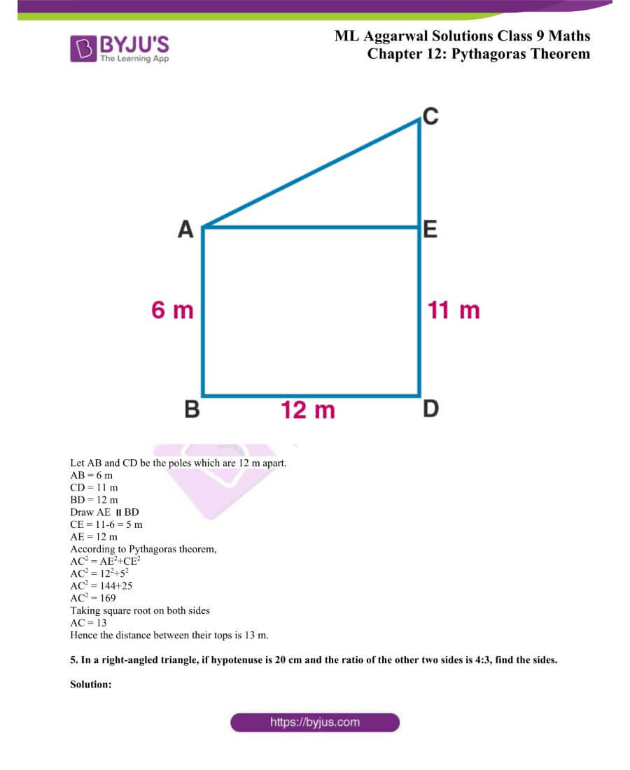 ML Aggarwal Solutions for Class 9 Maths Chapter 12 Pythagoras Theorem 3