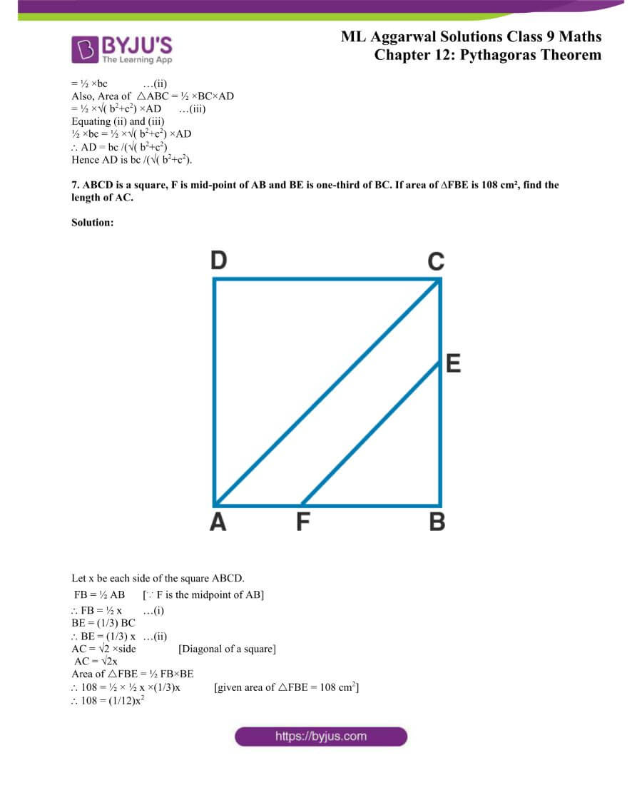 ML Aggarwal Solutions for Class 9 Maths Chapter 12 Pythagoras Theorem 37