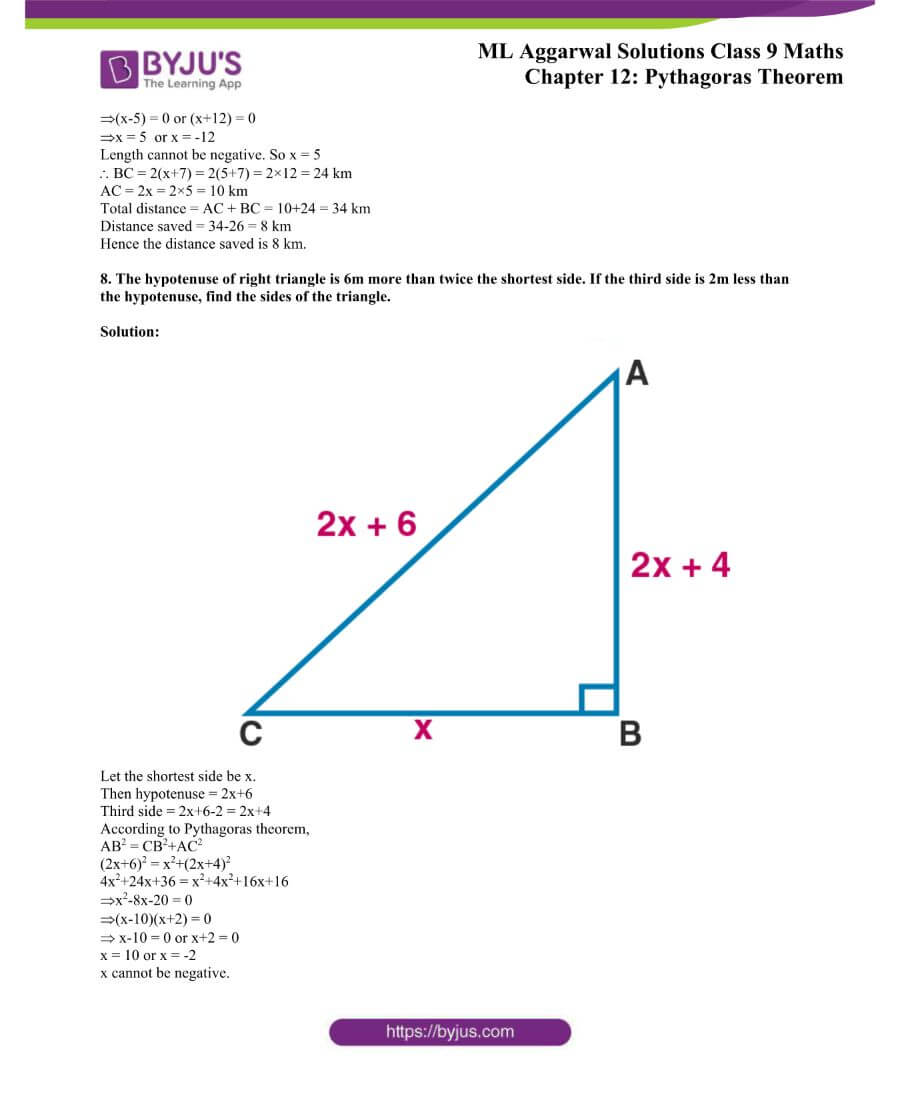 ML Aggarwal Solutions for Class 9 Maths Chapter 12 Pythagoras Theorem 6
