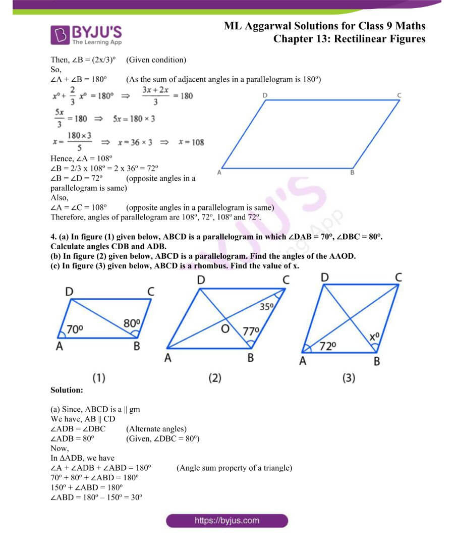 ML Aggarwal Solutions for Class 9 Maths Chapter 13 Rectilinear Figures 1