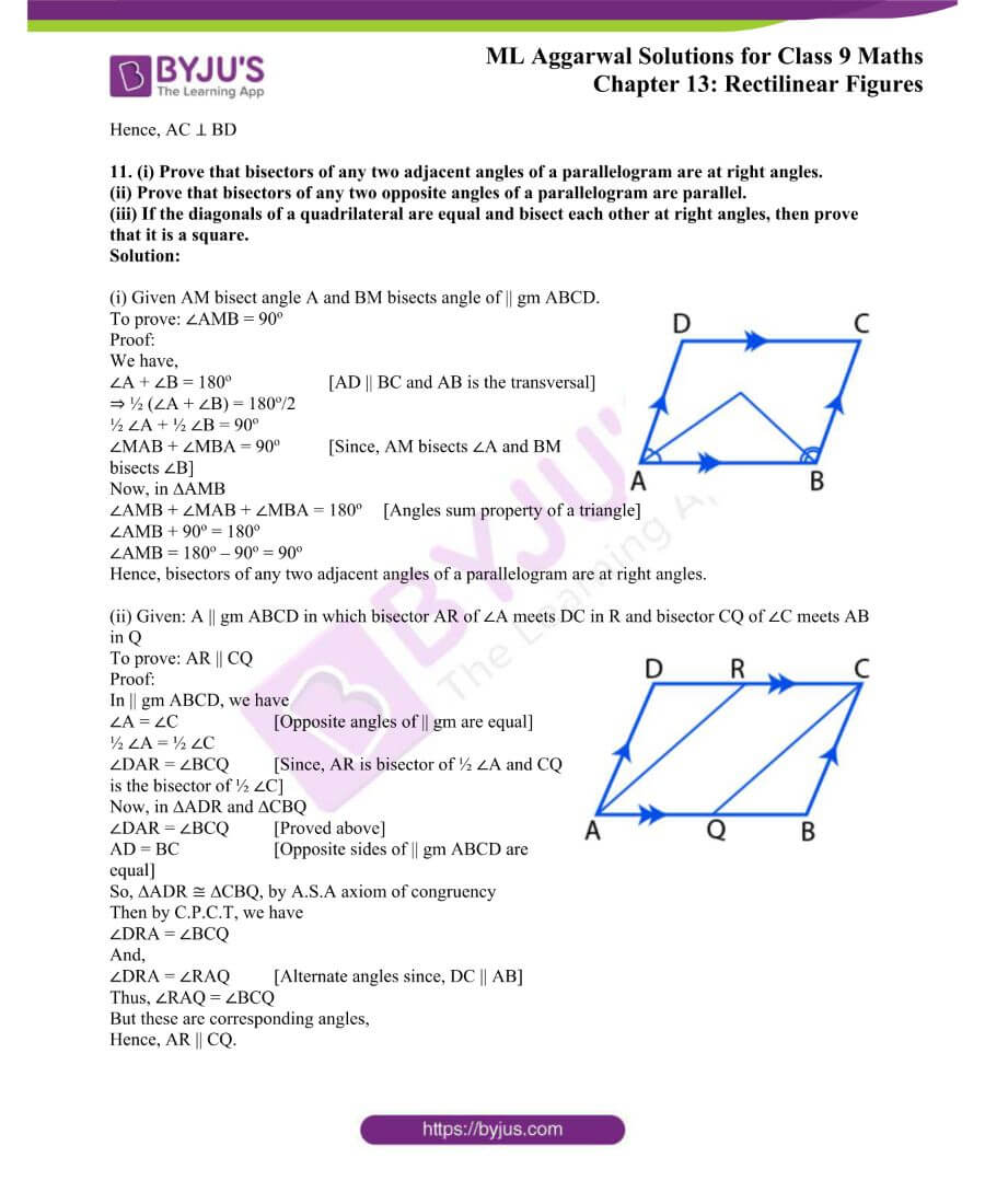 ML Aggarwal Solutions for Class 9 Maths Chapter 13 Rectilinear Figures 10
