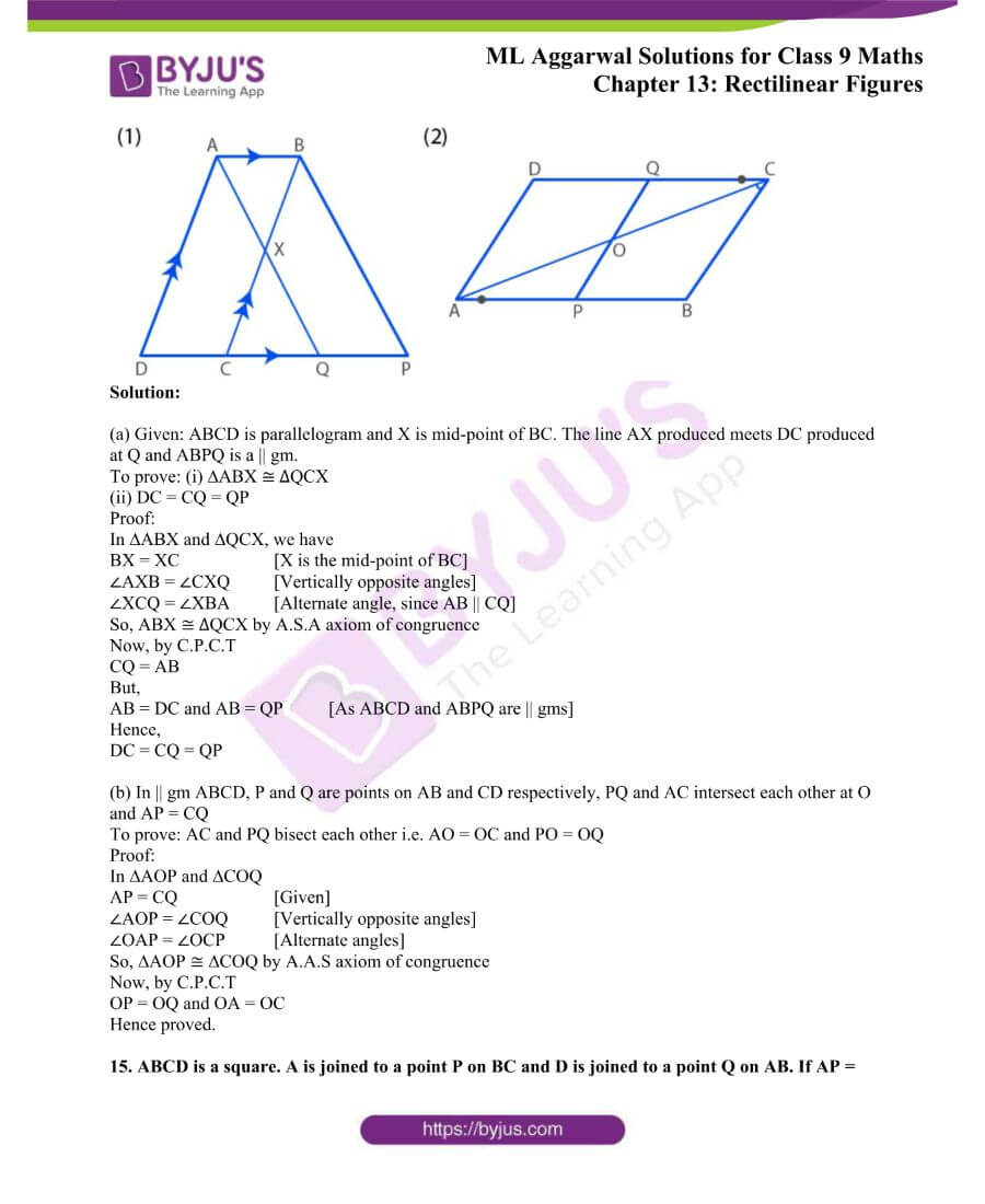 ML Aggarwal Solutions for Class 9 Maths Chapter 13 Rectilinear Figures 13