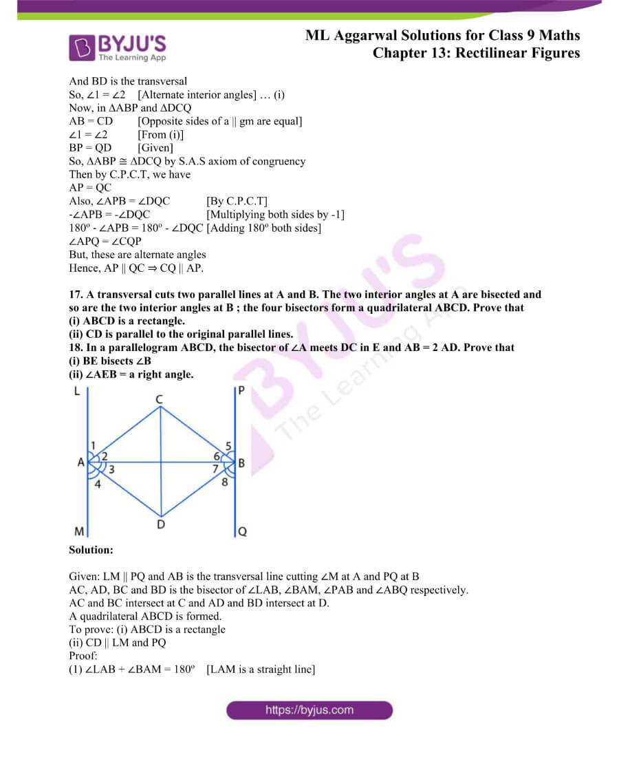 ML Aggarwal Solutions for Class 9 Maths Chapter 13 Rectilinear Figures 15
