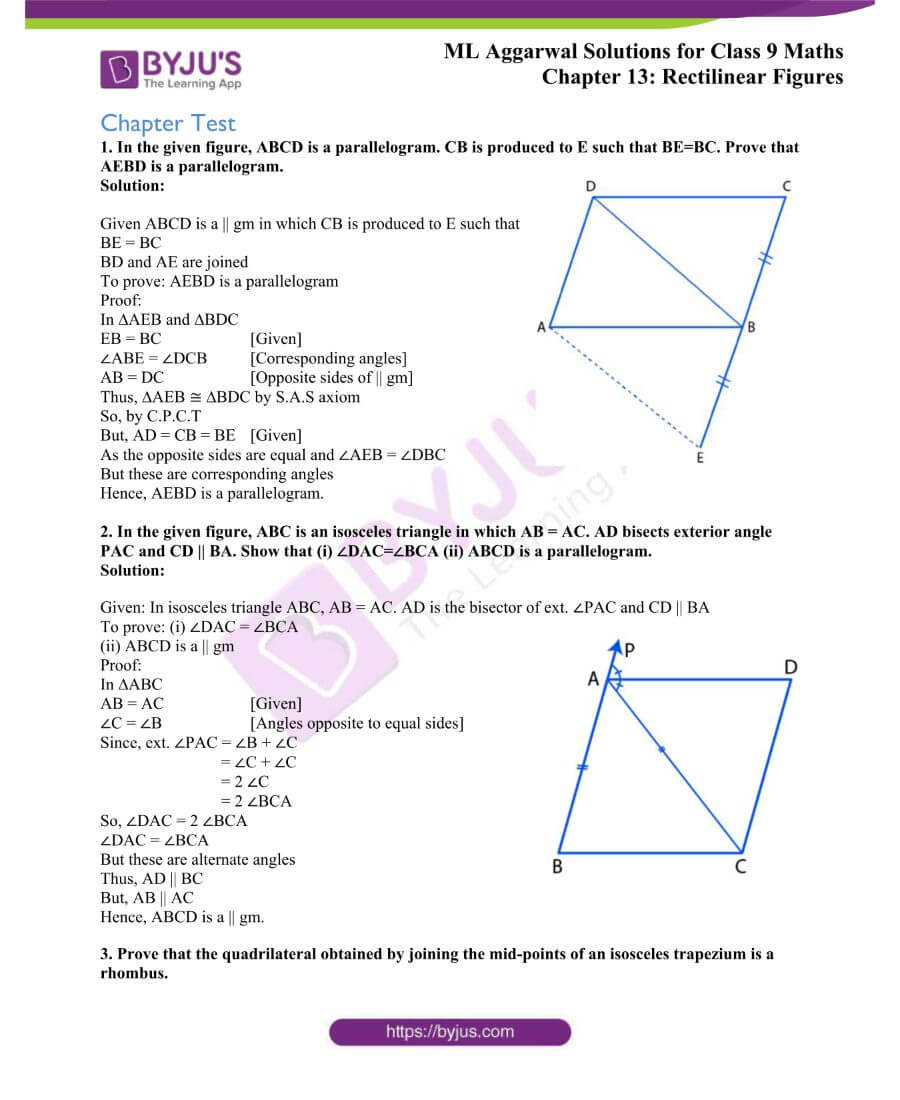 ML Aggarwal Solutions for Class 9 Maths Chapter 13 Rectilinear Figures 38