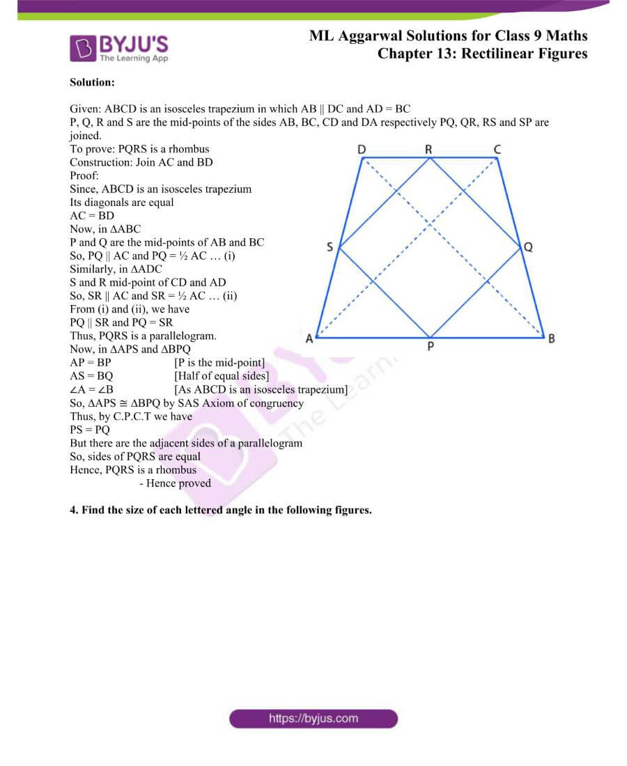 ML Aggarwal Solutions for Class 9 Maths Chapter 13 Rectilinear Figures 39