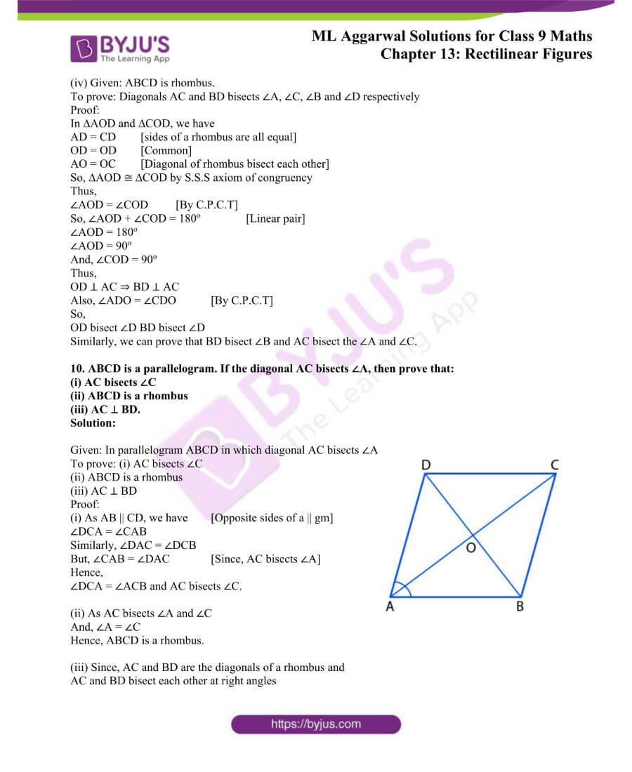 ML Aggarwal Solutions for Class 9 Maths Chapter 13 Rectilinear Figures 9