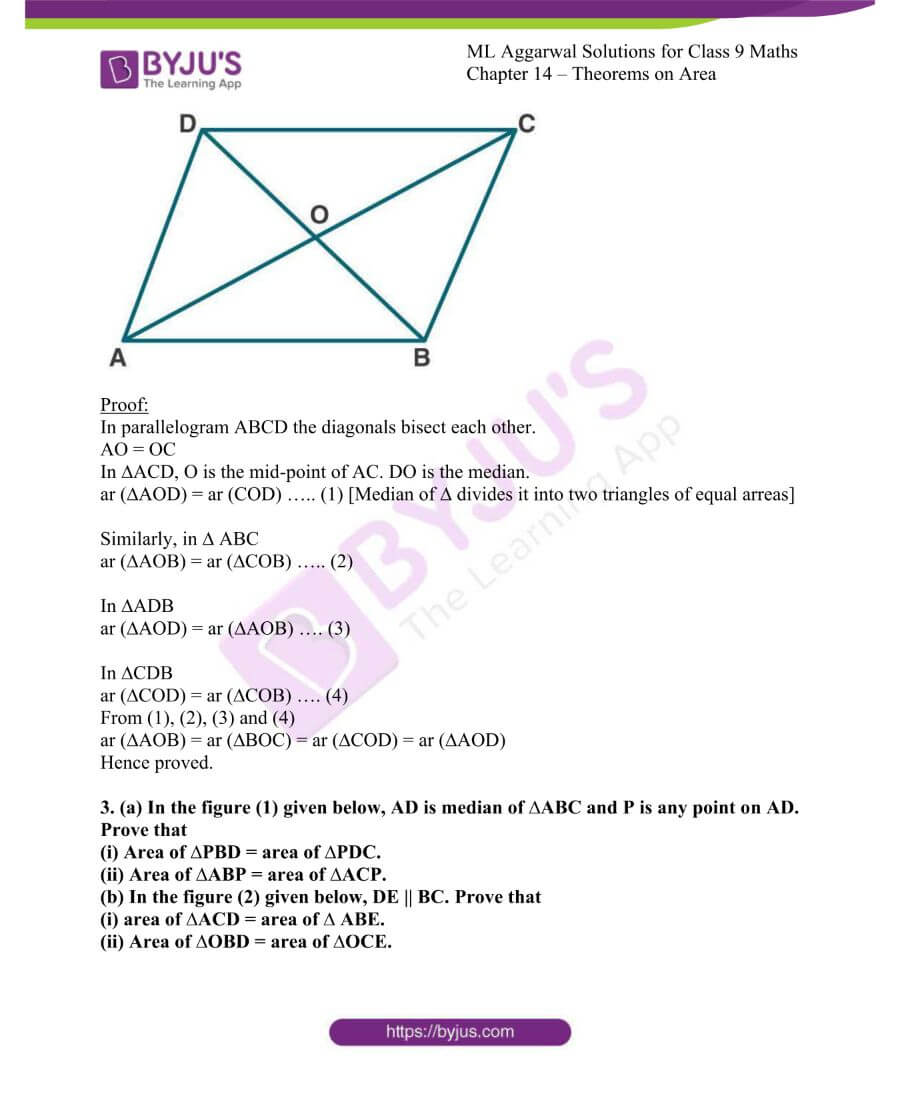 ML Aggarwal Solutions for Class 9 Maths Chapter 14 Theorems on Area 1