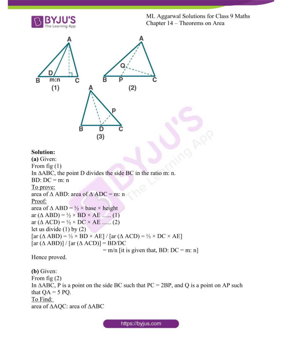 ML Aggarwal Solutions for Class 9 Maths Chapter 14 Theorems on Area 10