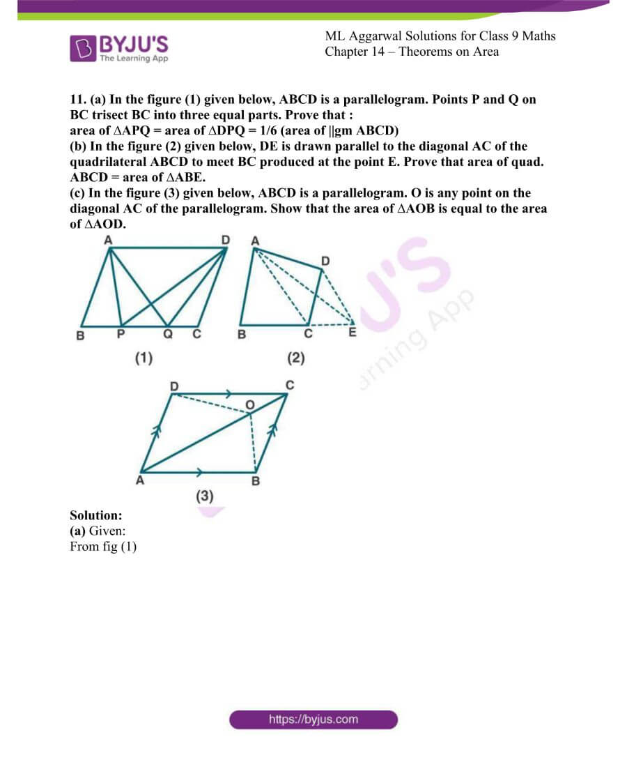 ML Aggarwal Solutions for Class 9 Maths Chapter 14 Theorems on Area 15