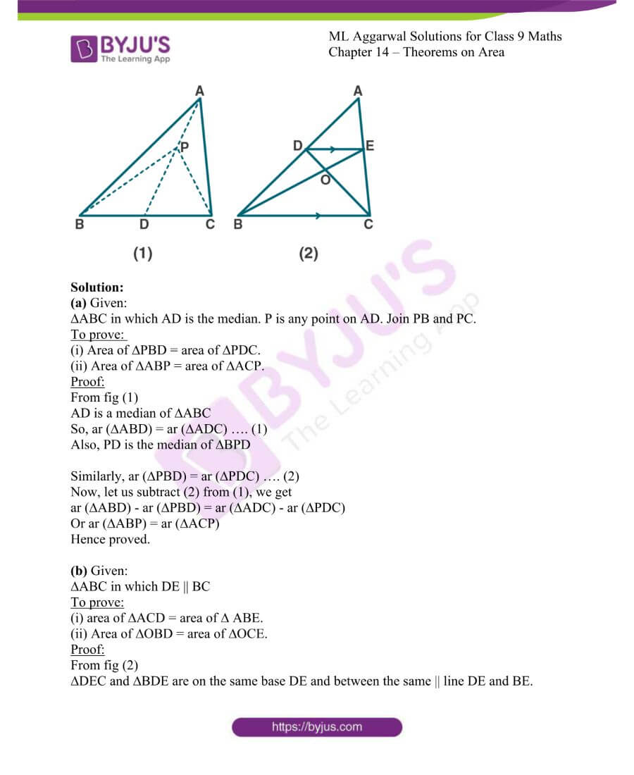 ML Aggarwal Solutions for Class 9 Maths Chapter 14 Theorems on Area 2