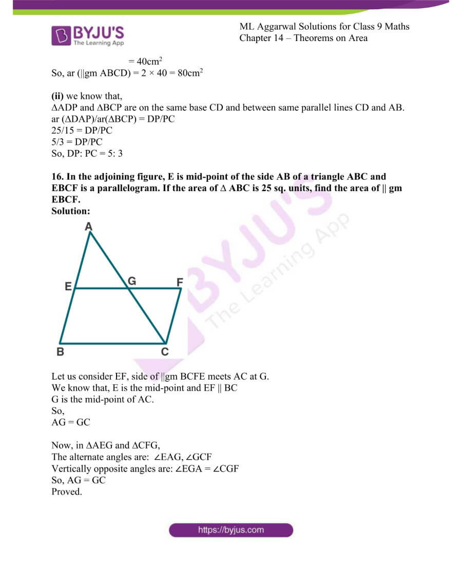 ML Aggarwal Solutions for Class 9 Maths Chapter 14 Theorems on Area 25