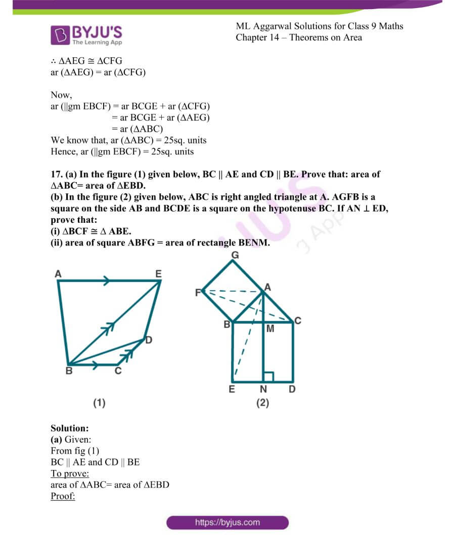 ML Aggarwal Solutions for Class 9 Maths Chapter 14 Theorems on Area 26