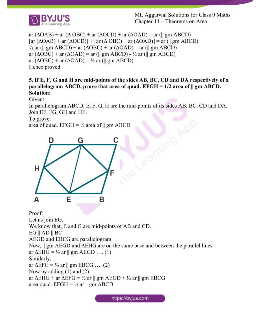ML Aggarwal Solutions for Class 9 Maths Chapter 14 Theorems on Area 5