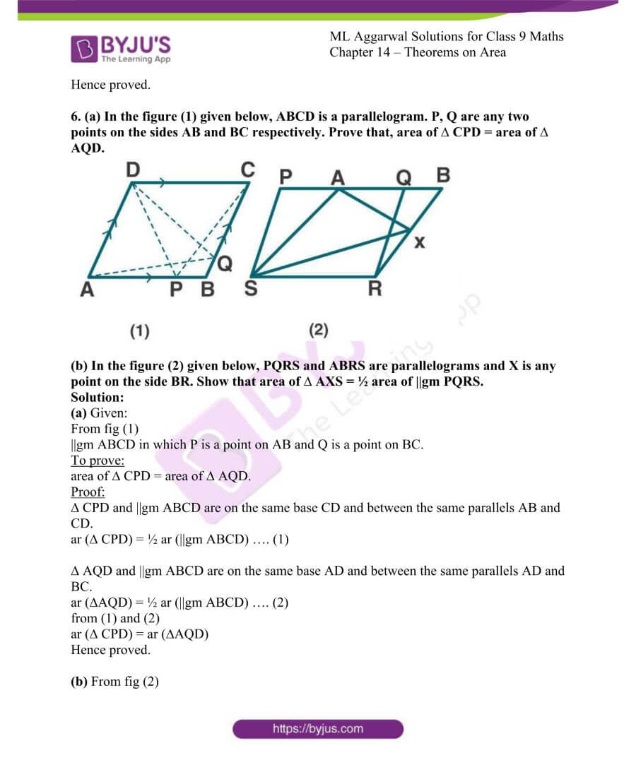 ML Aggarwal Solutions for Class 9 Maths Chapter 14 Theorems on Area 6