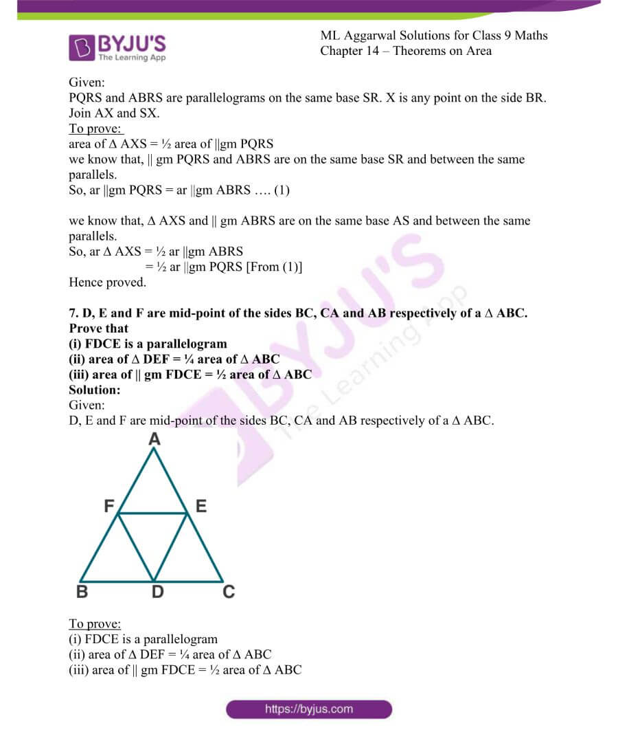 ML Aggarwal Solutions for Class 9 Maths Chapter 14 Theorems on Area 7