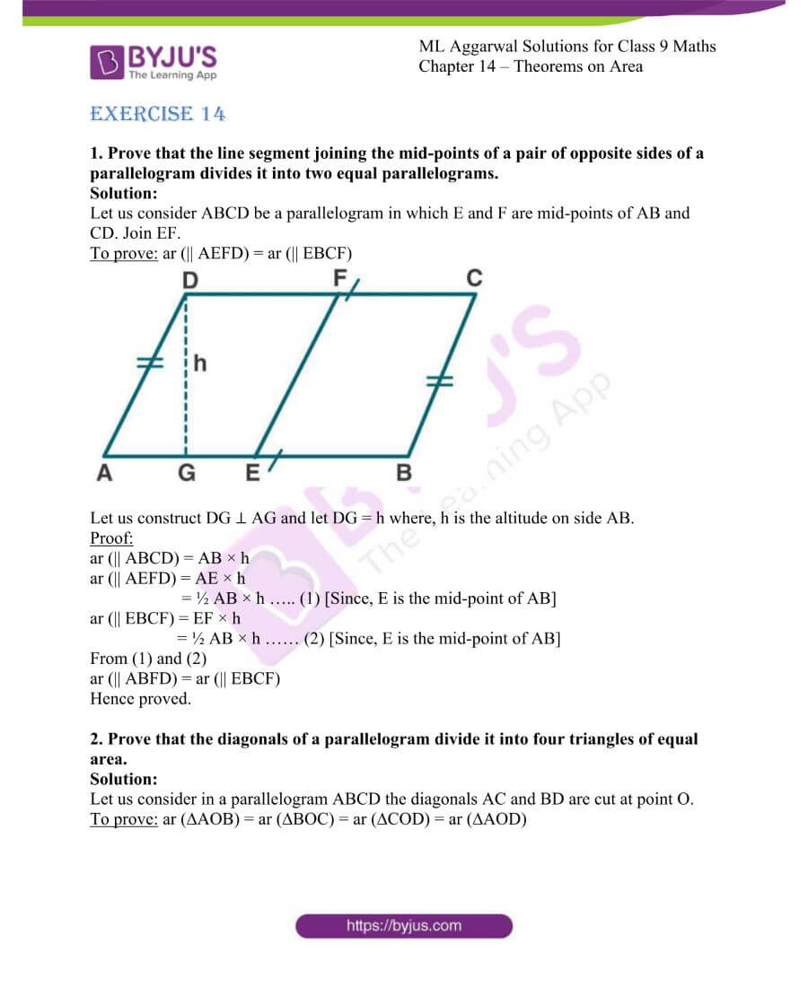 ML Aggarwal Solutions for Class 9 Maths Chapter 14 Theorems on Area