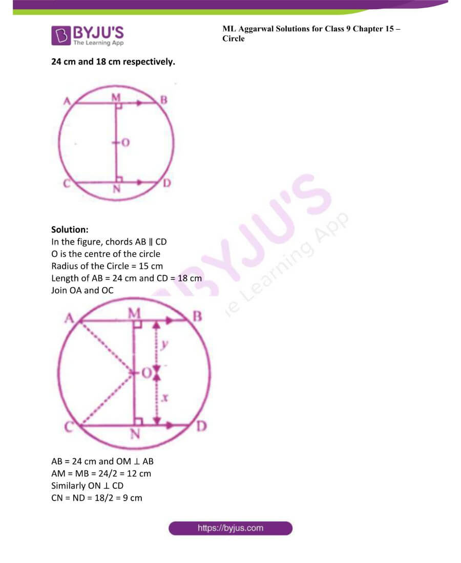 ML Aggarwal Solutions for Class 9 Maths Chapter 15 Circle 9