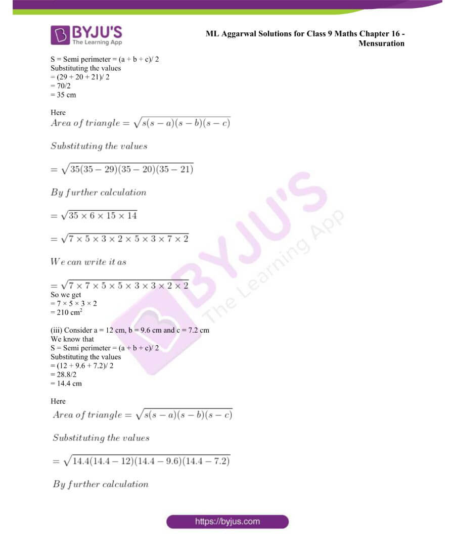ML Aggarwal Solutions for Class 9 Maths Chapter 16 Mensuration 1