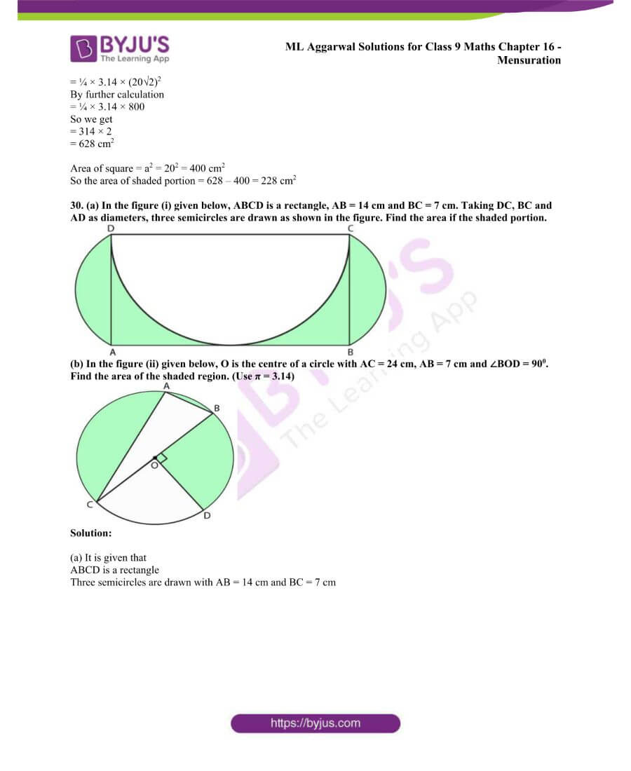 ML Aggarwal Solutions for Class 9 Maths Chapter 16 Mensuration 100