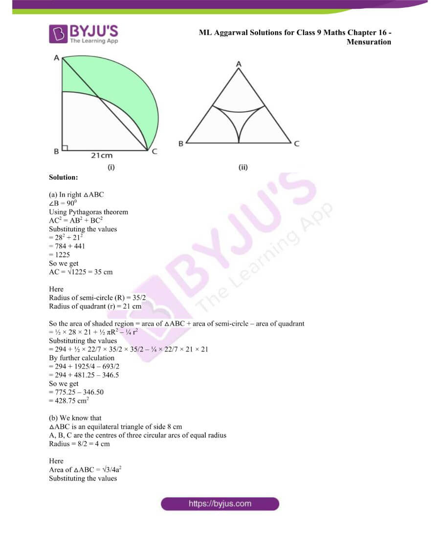 ML Aggarwal Solutions for Class 9 Maths Chapter 16 Mensuration 109
