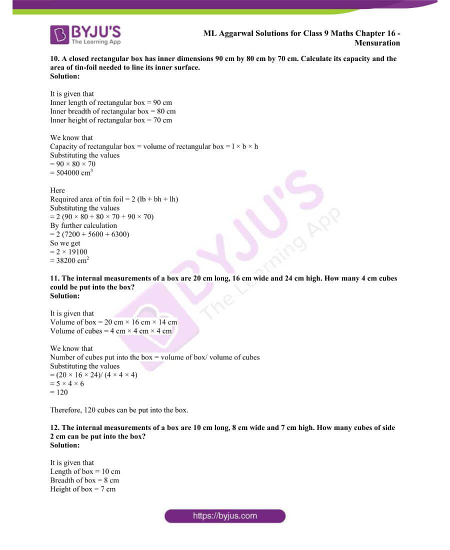 ML Aggarwal Solutions for Class 9 Maths Chapter 16 Mensuration 118