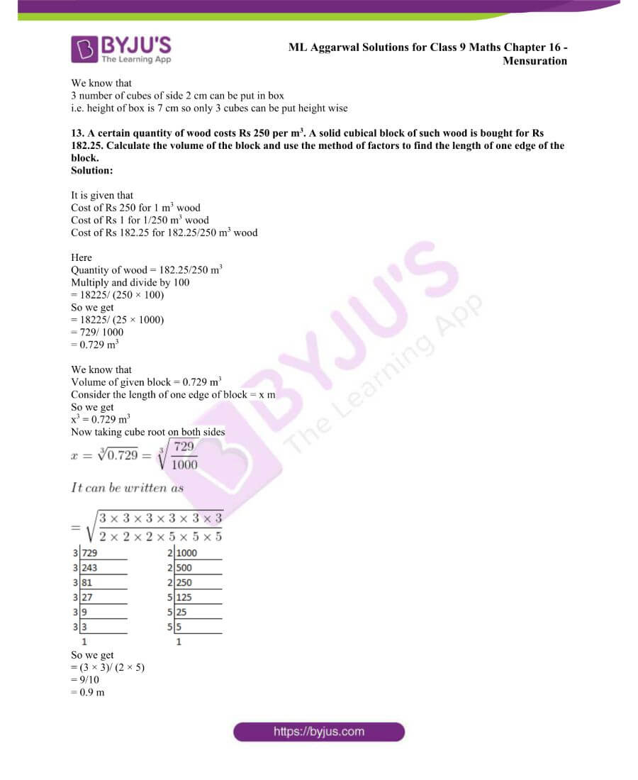 ML Aggarwal Solutions for Class 9 Maths Chapter 16 Mensuration 119