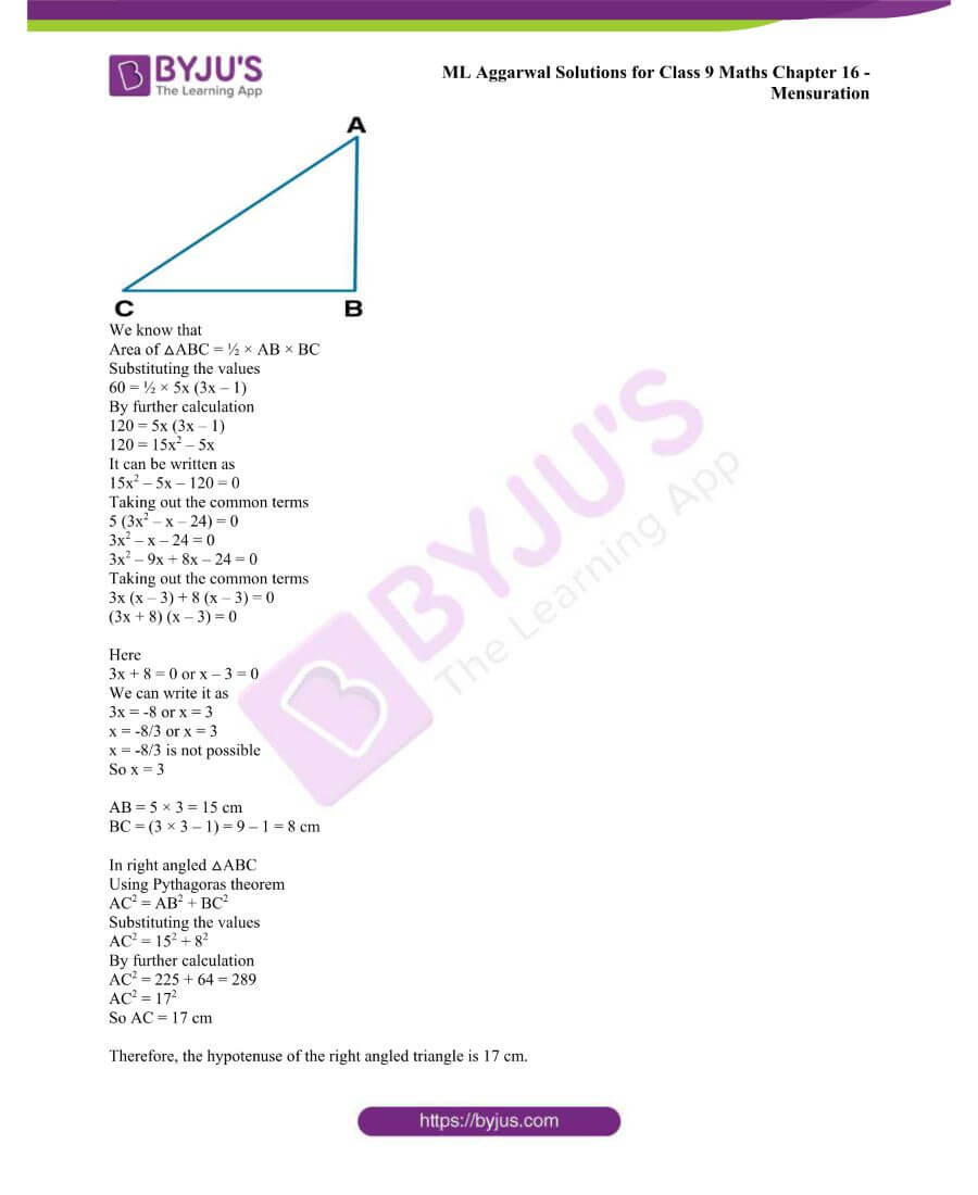ML Aggarwal Solutions for Class 9 Maths Chapter 16 Mensuration 12