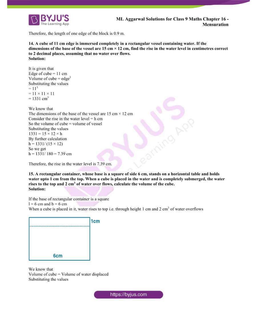 ML Aggarwal Solutions for Class 9 Maths Chapter 16 Mensuration 120