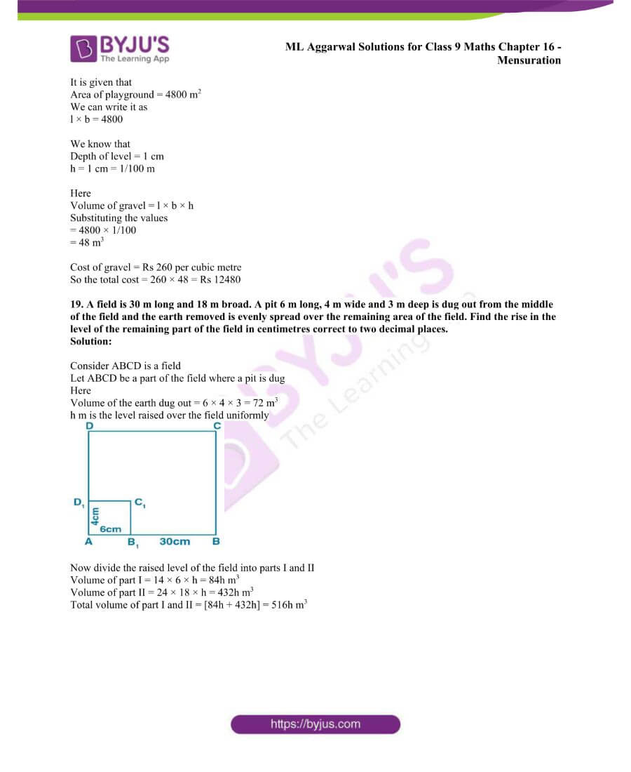 ML Aggarwal Solutions for Class 9 Maths Chapter 16 Mensuration 123