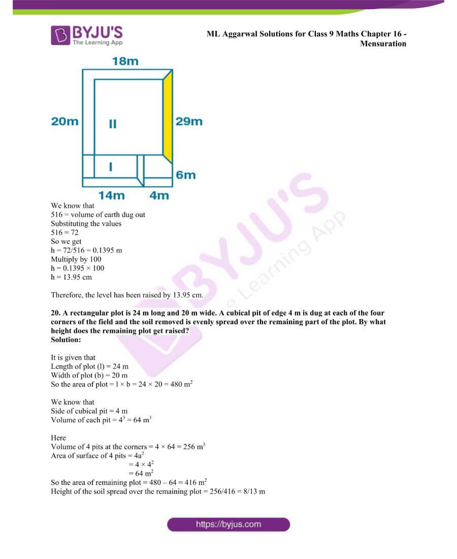 ML Aggarwal Solutions for Class 9 Maths Chapter 16 Mensuration 124