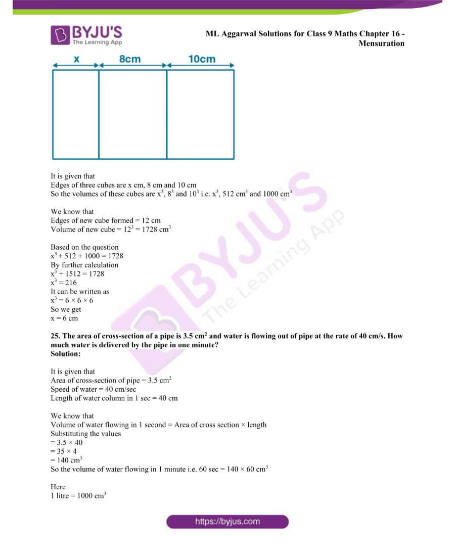 ML Aggarwal Solutions for Class 9 Maths Chapter 16 Mensuration 127